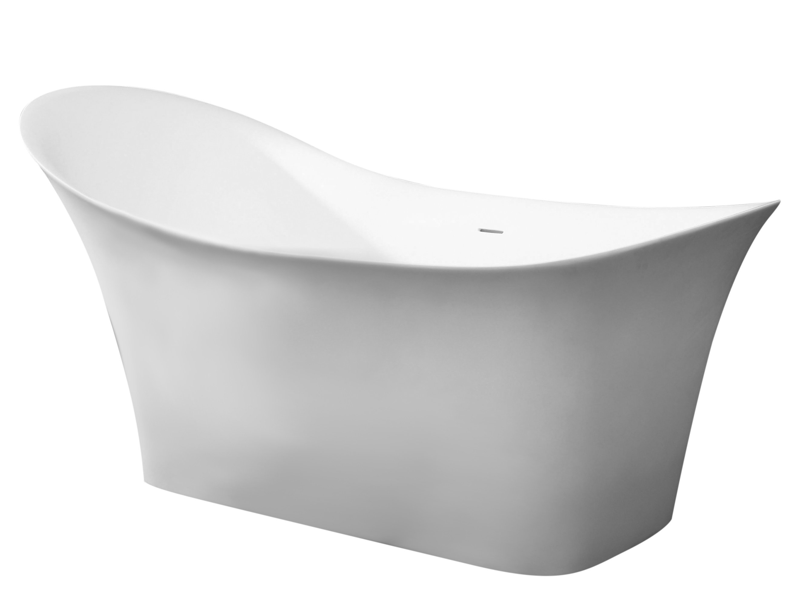 ALFI brand AB9915 74 in. Solid Surface Smooth Resin Soaking Slipper Bathtub, White