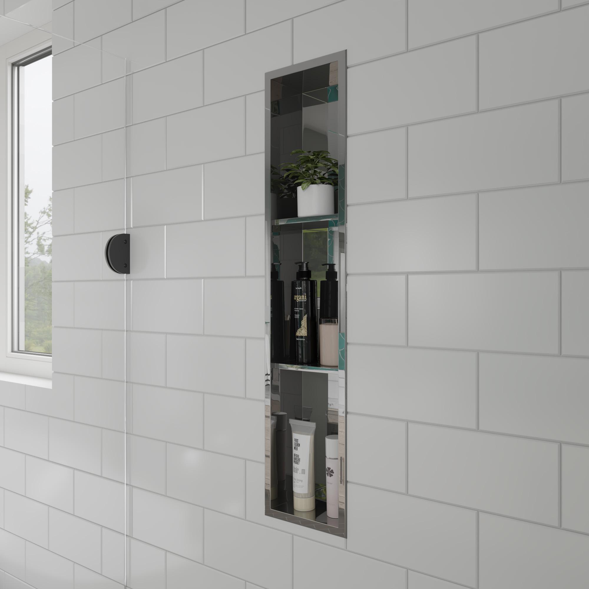 ALFI brand ABN0836-PSS 8 x 36 in. Polished Stainless Steel Vertical Triple Shelf Bath Shower Niche - Grey