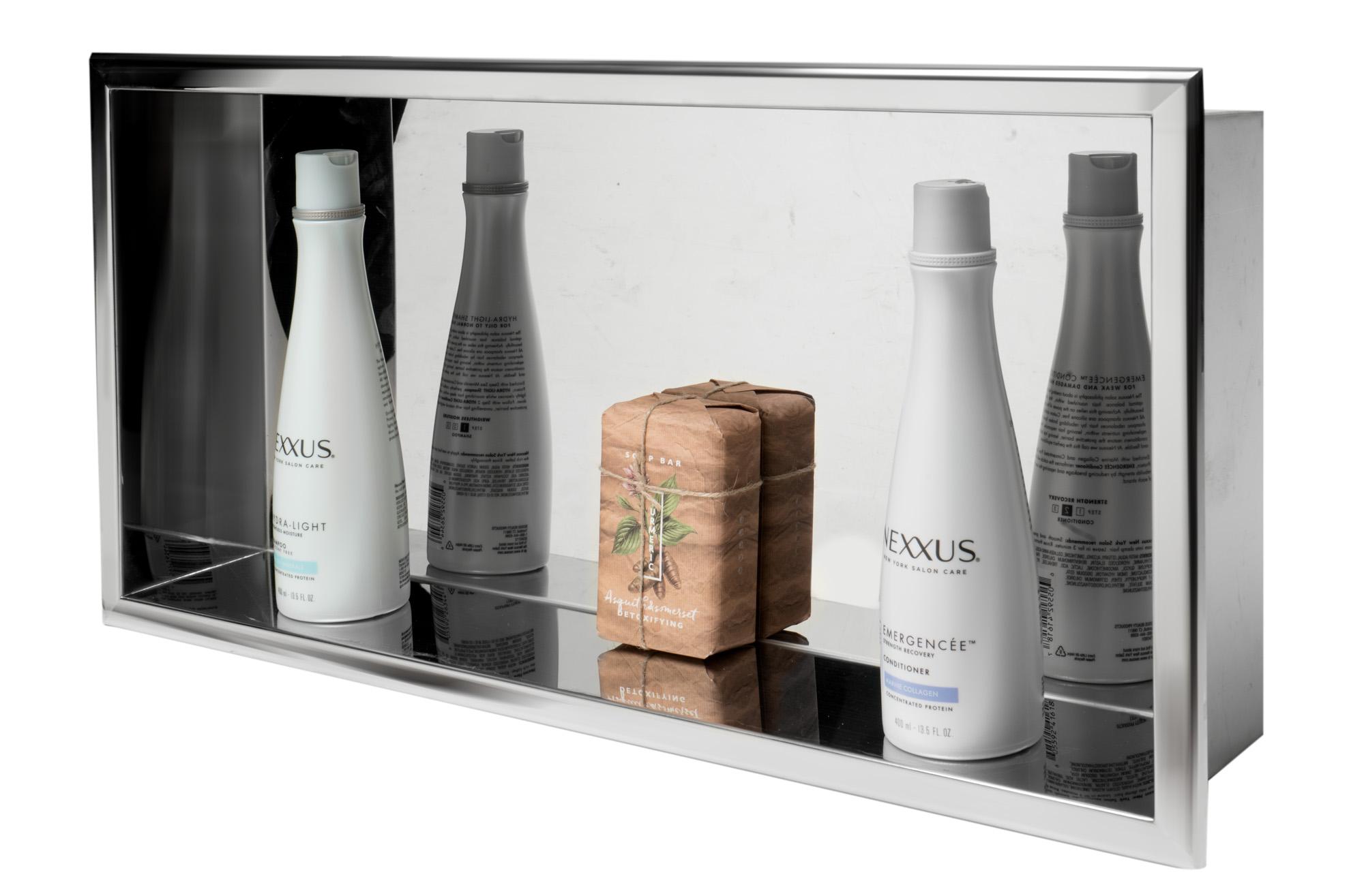 ALFI brand ABN2412-PSS 24 x 12 in. Polished Stainless Steel Horizontal Single Shelf Bath Shower Niche - Grey