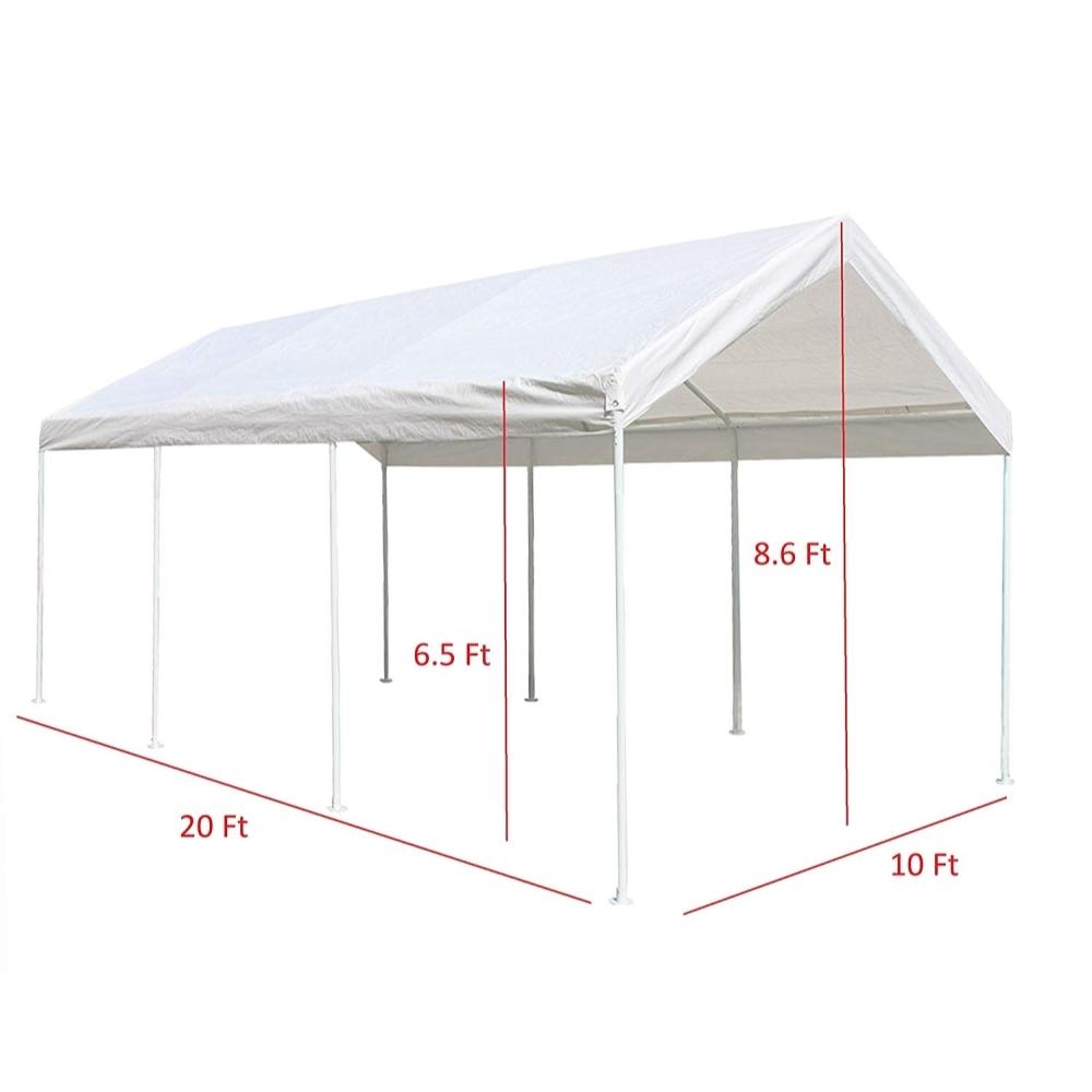 10 x 20 ft. Heavy Duty Steel Frame Carport Gazebo Polyethylene Party Tent White
