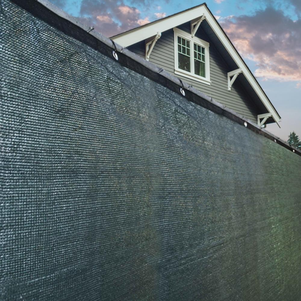 Aleko PLK06150ADG-UNB 6 x 150 ft. Aluminum Eye Fence Privacy Outdoor Backyard Green Screen