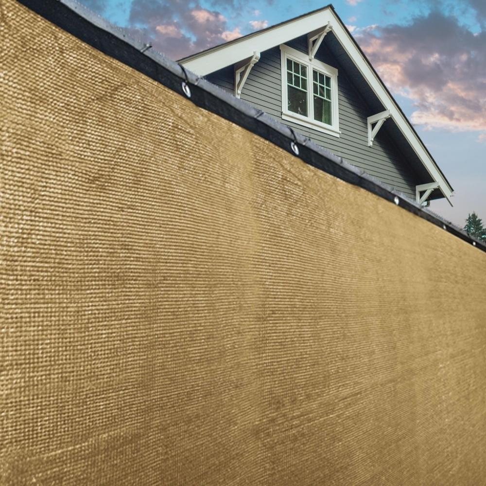 ALEKO PLK06150ABEIGE-UNB 6 x 150 ft. Aluminum Eye Fence Privacy Outdoor Backyard Beige Screen