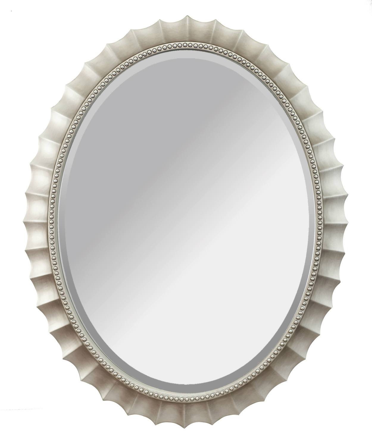 Alpine Fine Furniture 2167 Audrey Brushed Silver Wall Mirror, 31 x 39 in.
