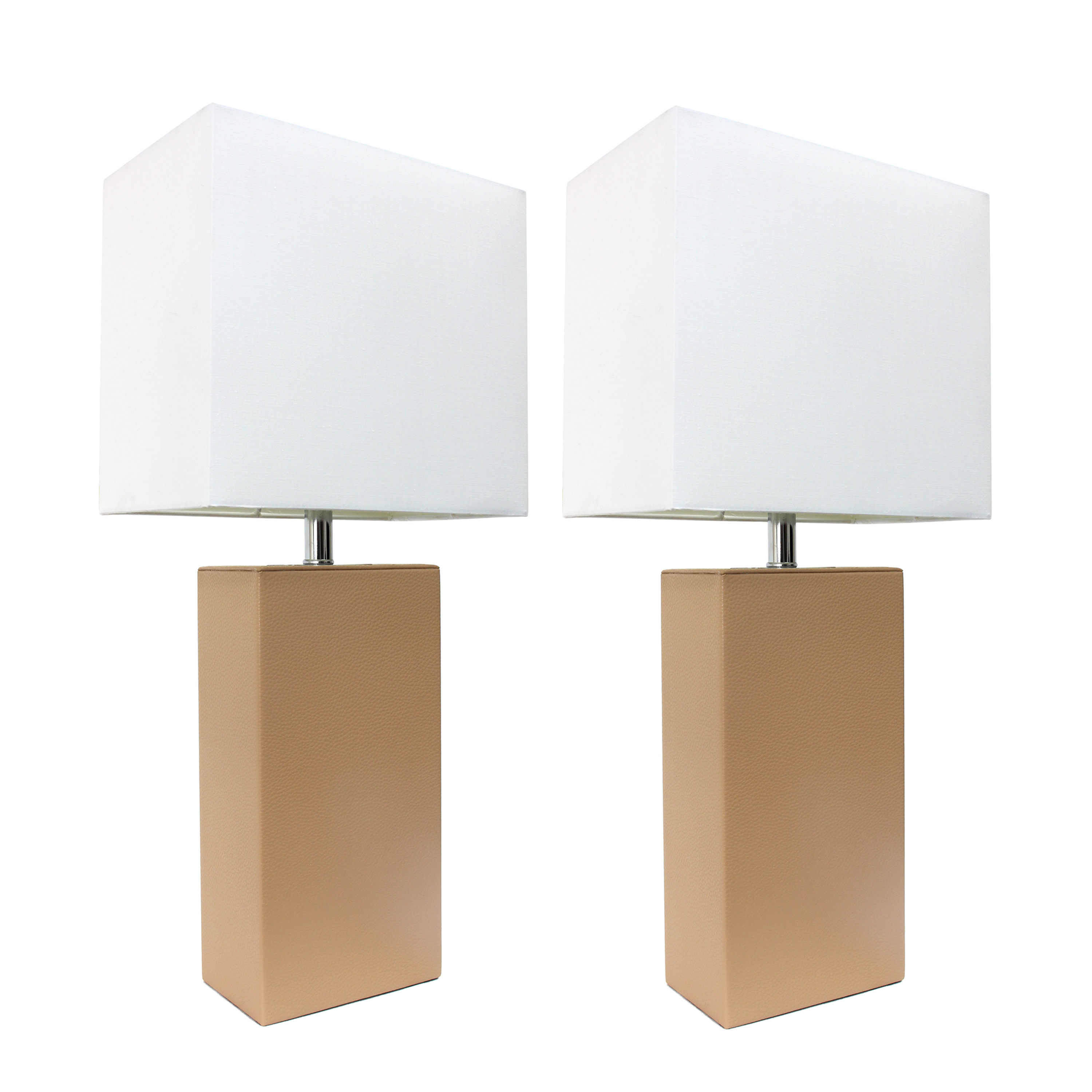 Alltherages LC2000-BGE-2PK Elegant Designs Modern Leather Table Lamp with White Fabric Shade - Beige Pack of 2