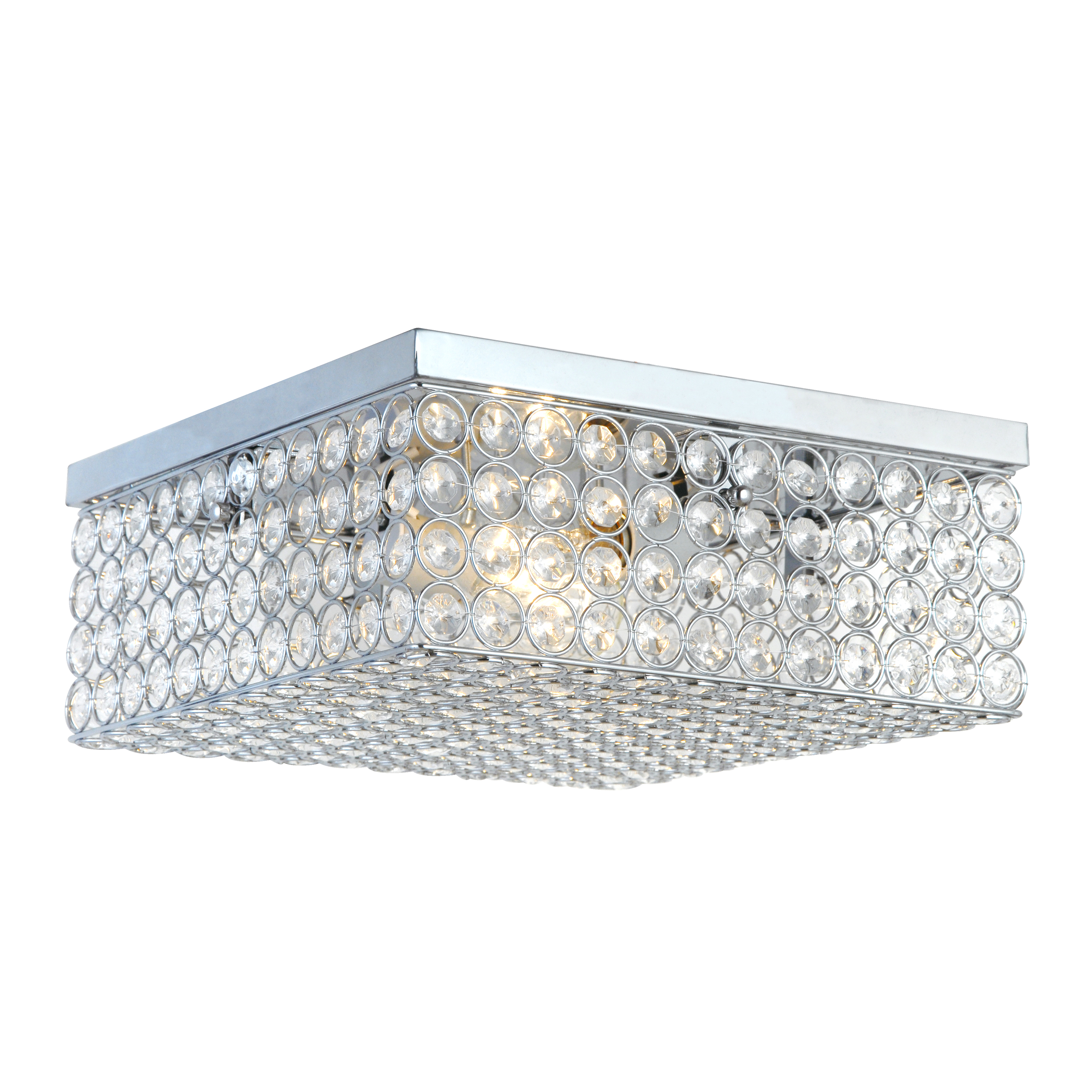 Alltherages FM1004-CHR 12 in.Crystal Square Flush mount