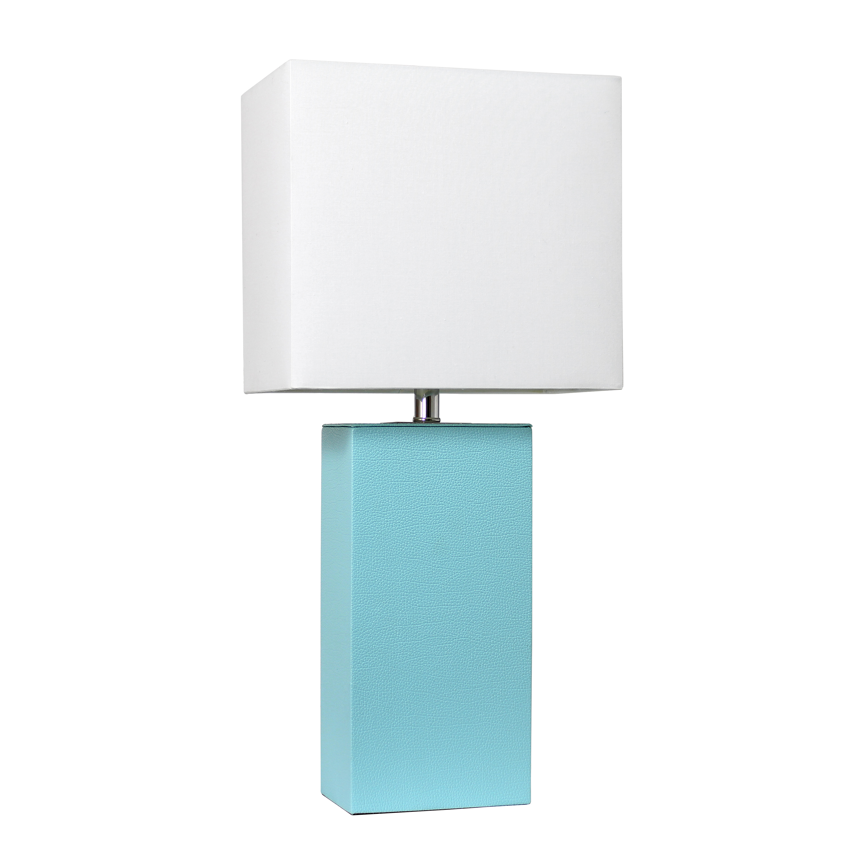 Elegant Designs LT1025-AQU Modern Leather Table Lamp - Aqua with White Fabric Shade