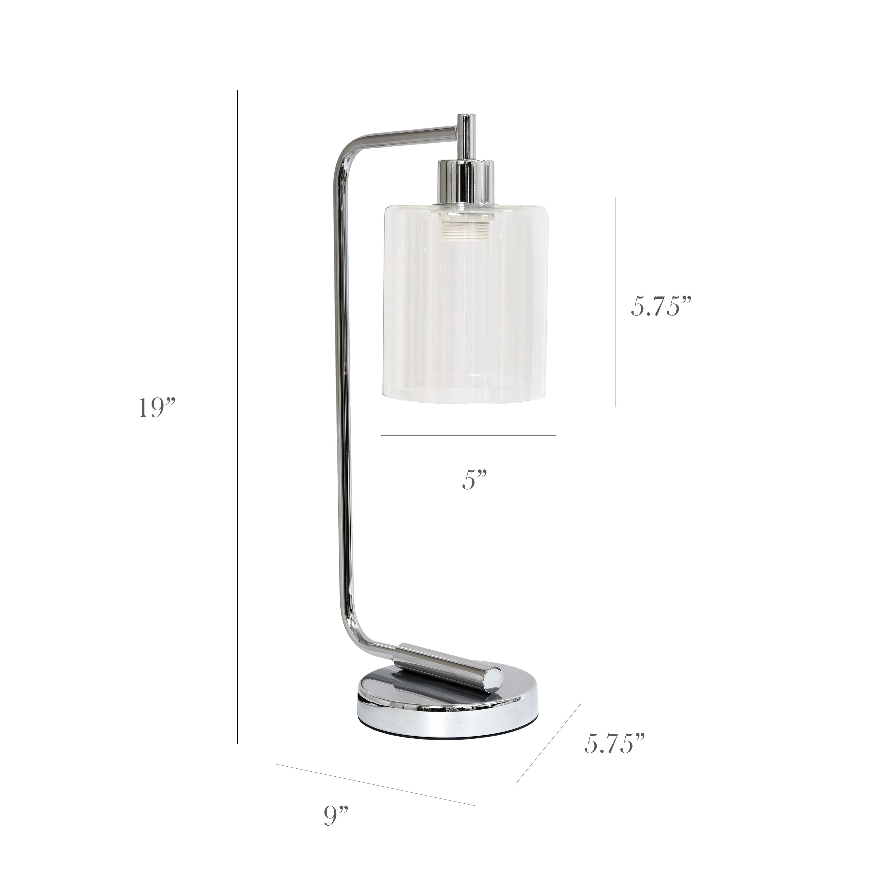 Simple Designs LD1036-CHR 18.75 in. Bronson Antique Style Industrial Iron Lantern Desk Lamp with Glass Shade Chrome