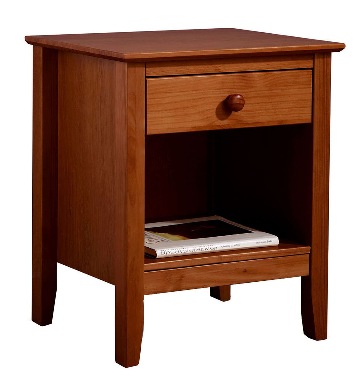 Image of Adeptus USA 77240 Easy Pieces Solid Pine Single Drawer End Table - Pecan