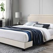 Regal Beige Velvet Upholstered Bed- King
