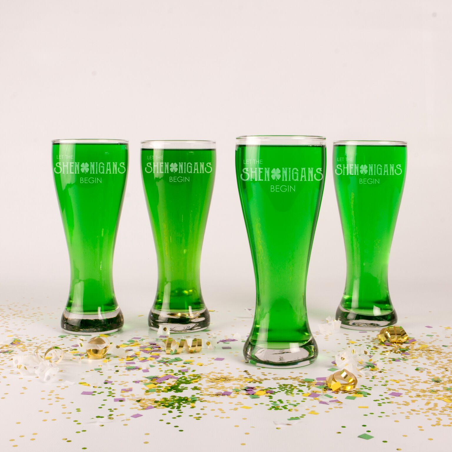 Cathys Concepts PAT17-1122 20 oz St. Patricks Day Shenanigans Pilsner Glass - Set of 4