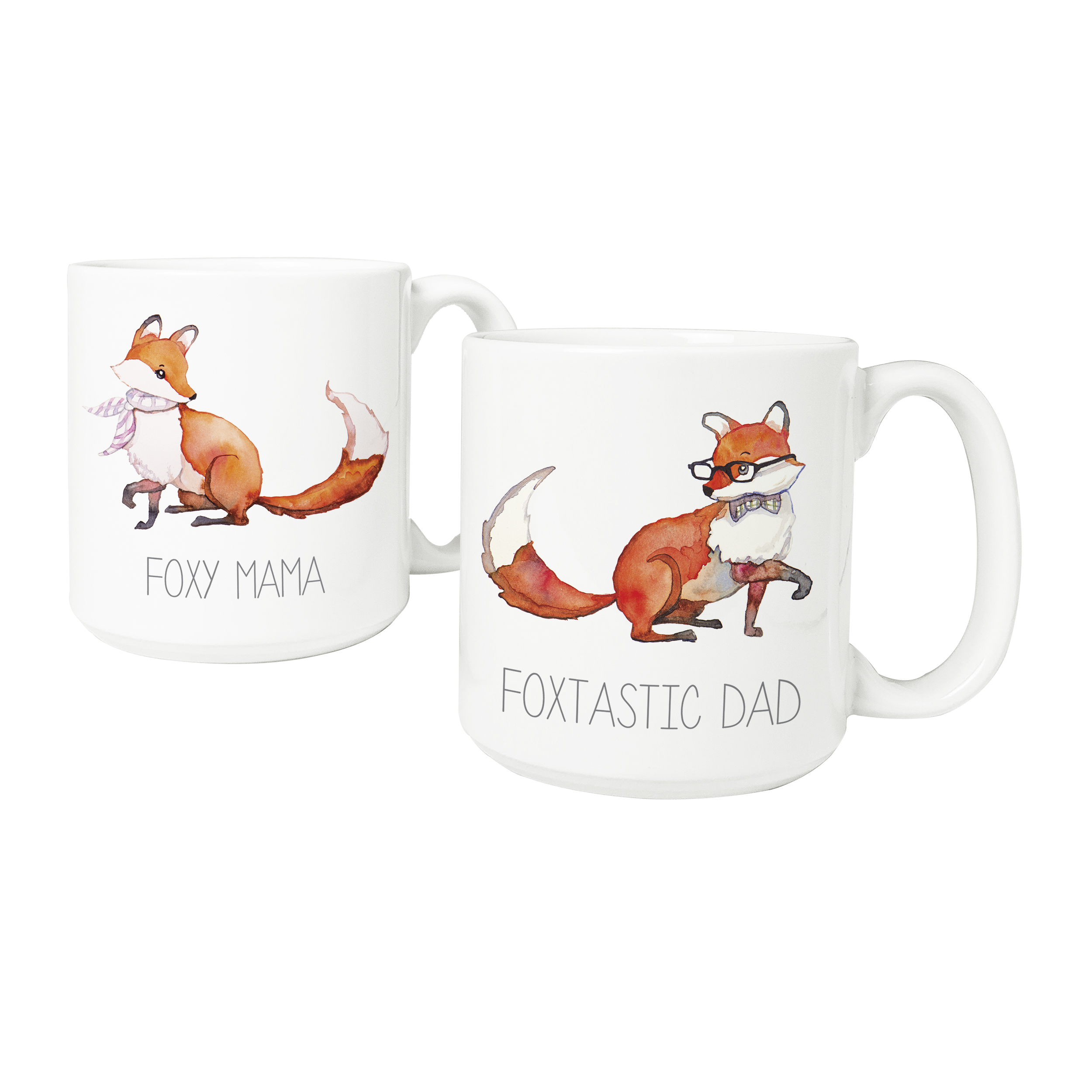 Cathys Concepts MF-3900FOX 20 oz Foxtastic Dad & Foxy Mama Coffee Mugs Large - Set of 2 CACO2909