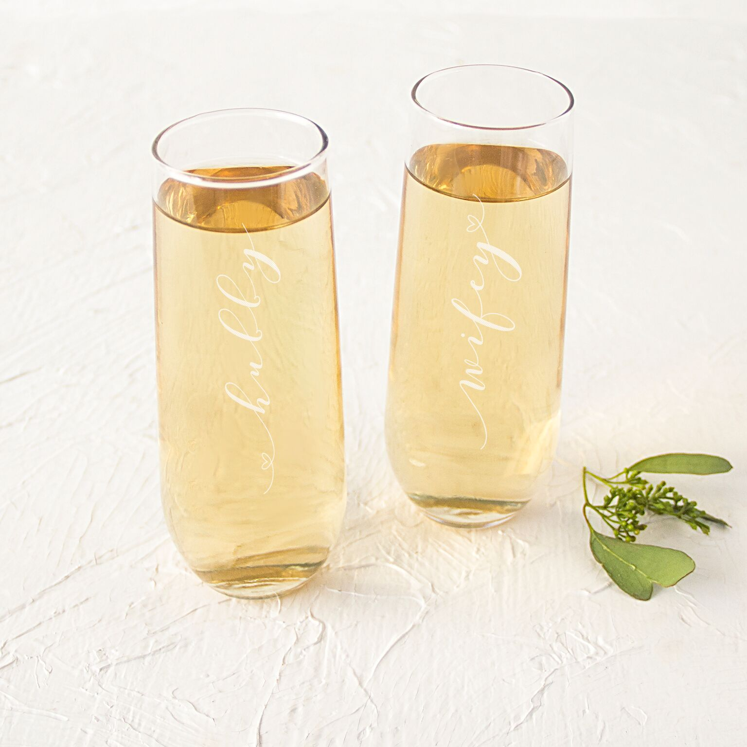 Cathys Concepts WH1228-2 Hubby & Wifey Stemless Champagne Flutes