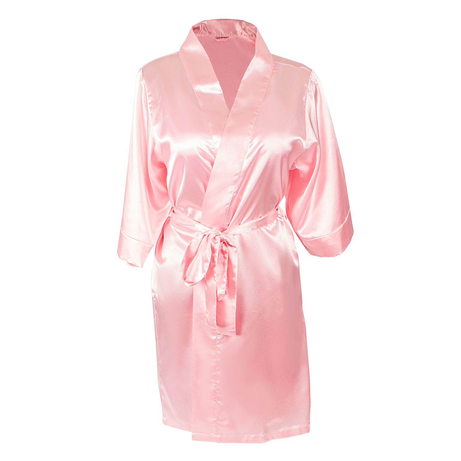 Cathys Concepts 1804P-SM-ST Team Bride Satin Robe, Pink - Small & Medium