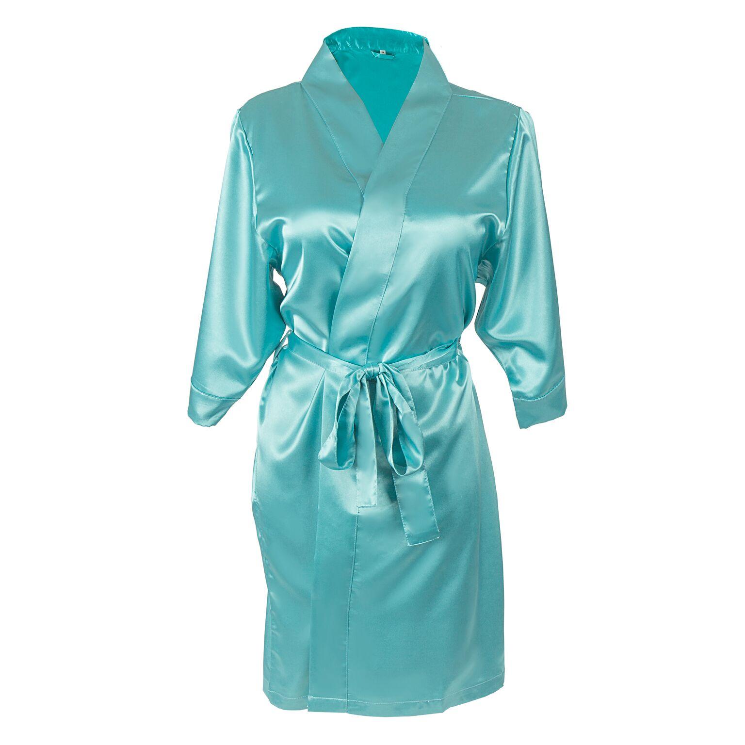 Cathys Concepts 1804A-LXL-ST Team Bride Satin Robe, Aqua - Large & Extra Large