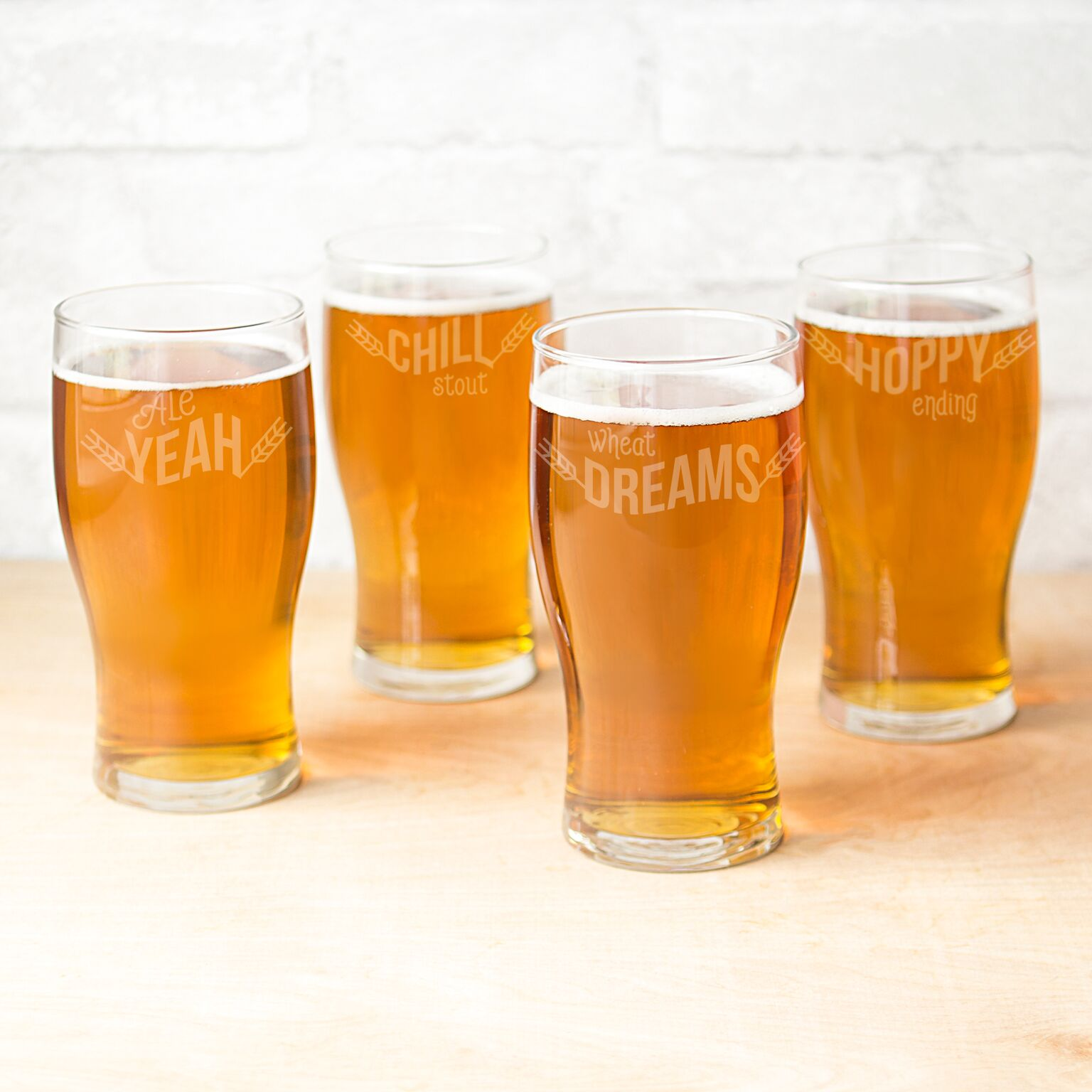 Cathys Concepts BP4115-4 19 oz Beer Pun Pilsner Glasses - 4 Set