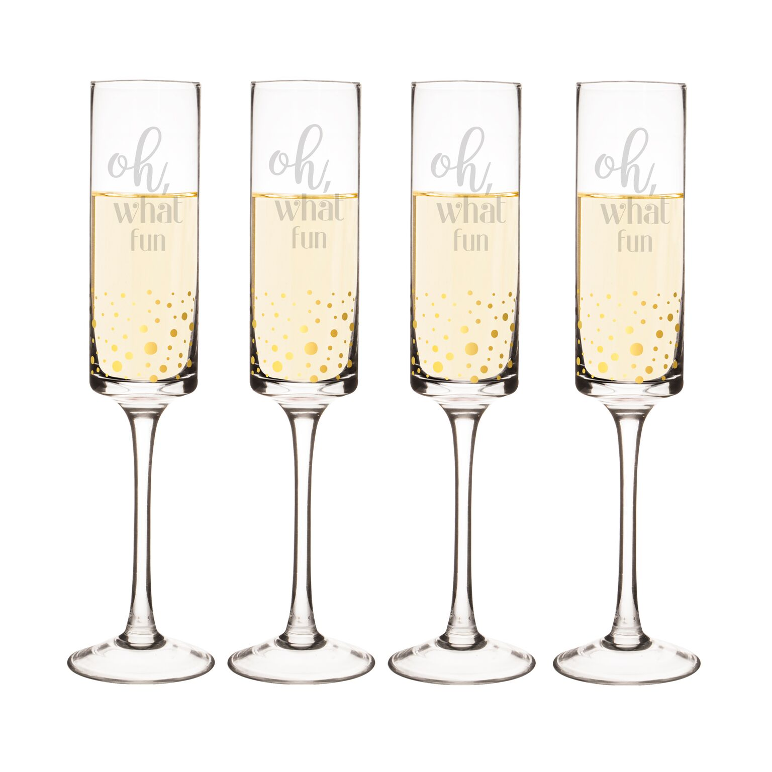 Cathys Concepts H17-GD3668-4 8 oz Oh What Fun Gold Dot Contemporary Champagne Flutes - Set of 4
