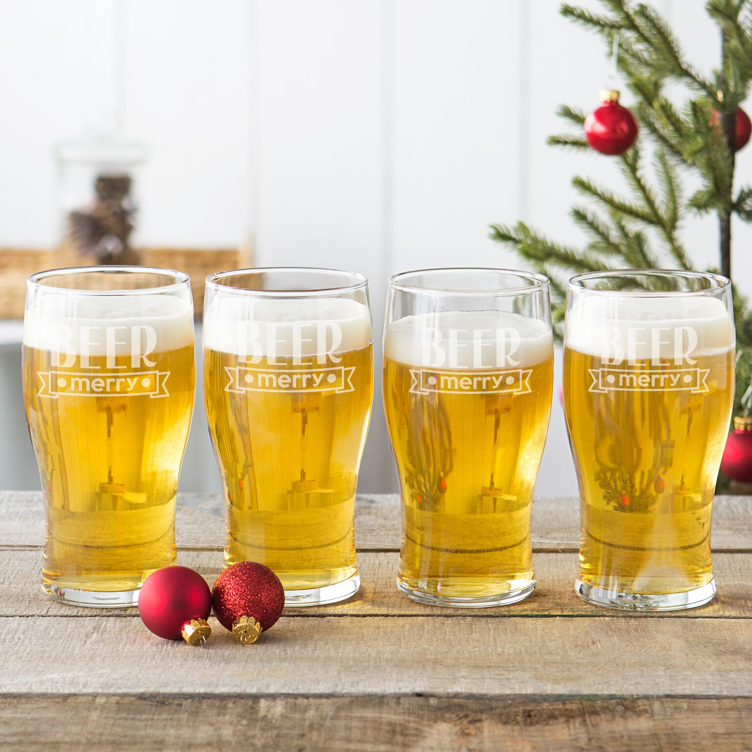 Cathys Concepts H17-4115-4 19 oz Beer Merry Pilsner Glasses