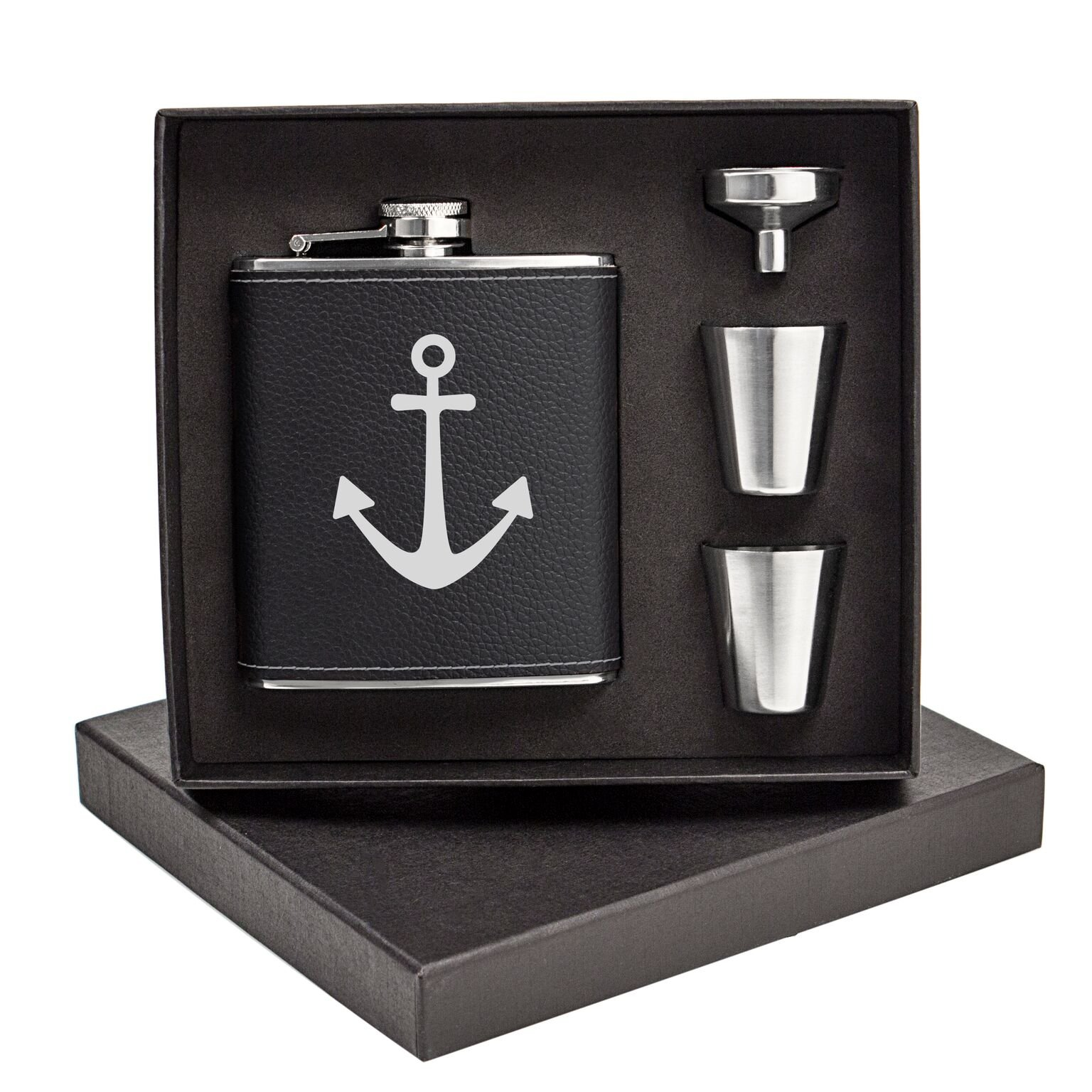 Cathys Concepts ACH1343BK7ST Anchor Leather Wrapped Flask Set, Black