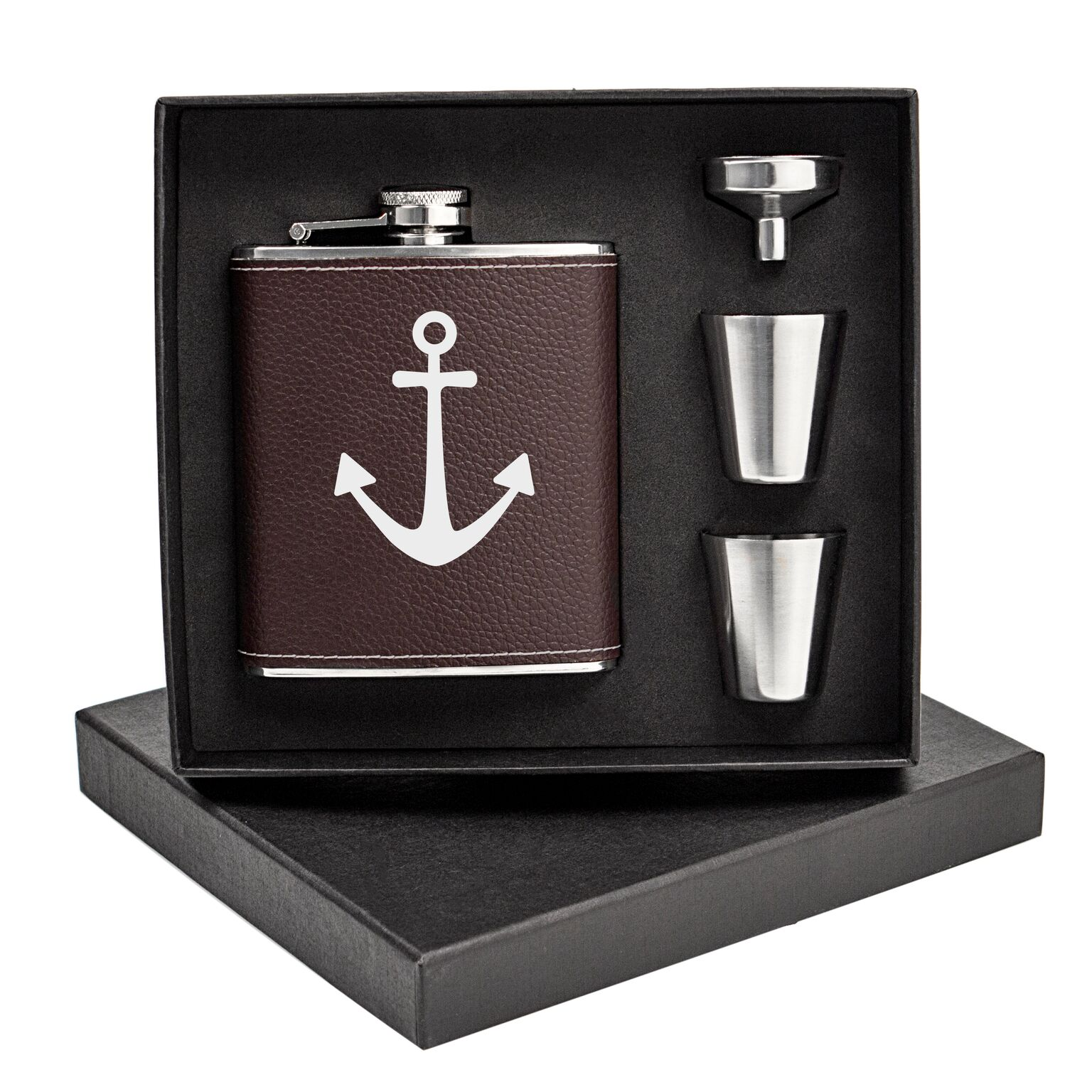 Cathys Concepts ACH1343BN7ST Anchor Leather Wrapped Flask Set, Brown