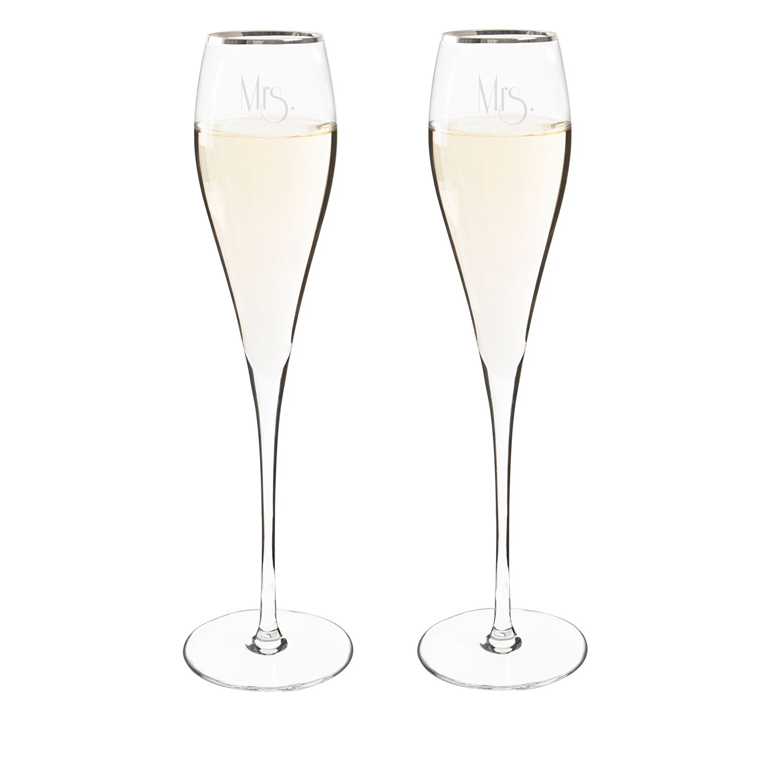Cathys Concepts GMRS-3670S Mrs. & Mrs. Gatsby 7 oz. Silver Rim Champagne Flutes Set of 2