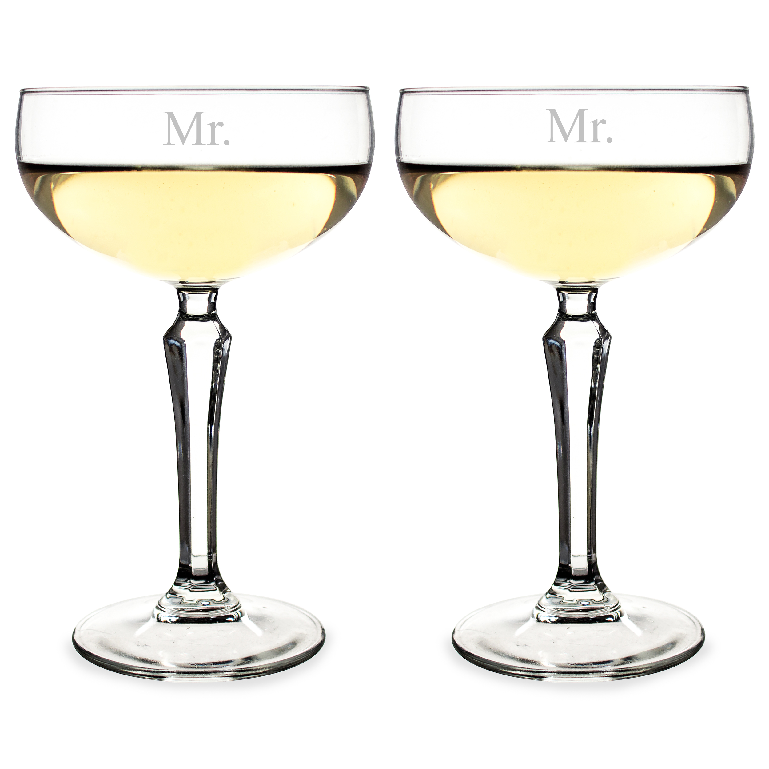 Cathys Concepts MR1230-2 8.25 oz Mr. & Mr. Champagne Coupe Flutes - 6 x 3.375 in.