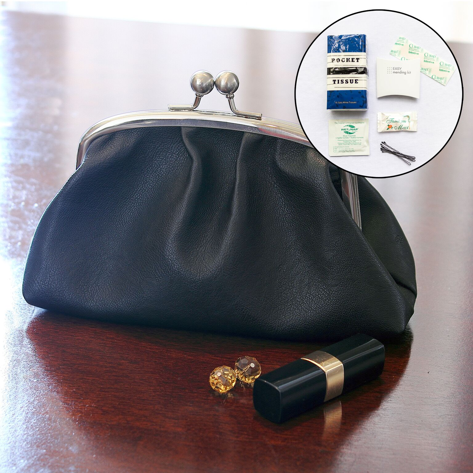 Cathys Concepts 2079BS 4.25 in. Vintage Clutch with Survival Kit, Matte Satin & Faux leather