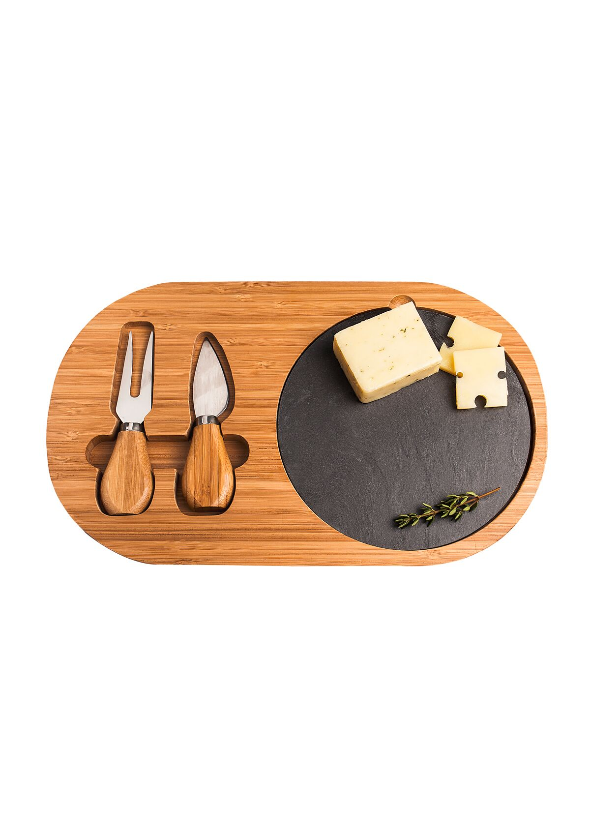 Cathys Concepts 2168 Bamboo & Slate Cheese Board Set with Utensils