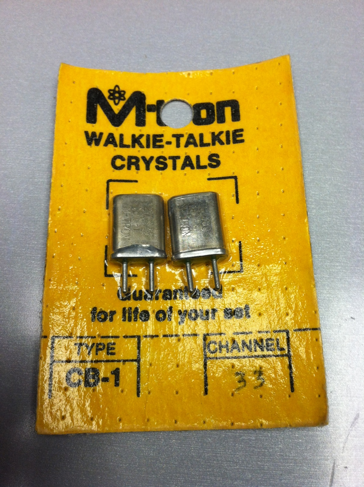 CB CH33 channel 33 replacement receive & transmit crystals for a handheld walkie talkies