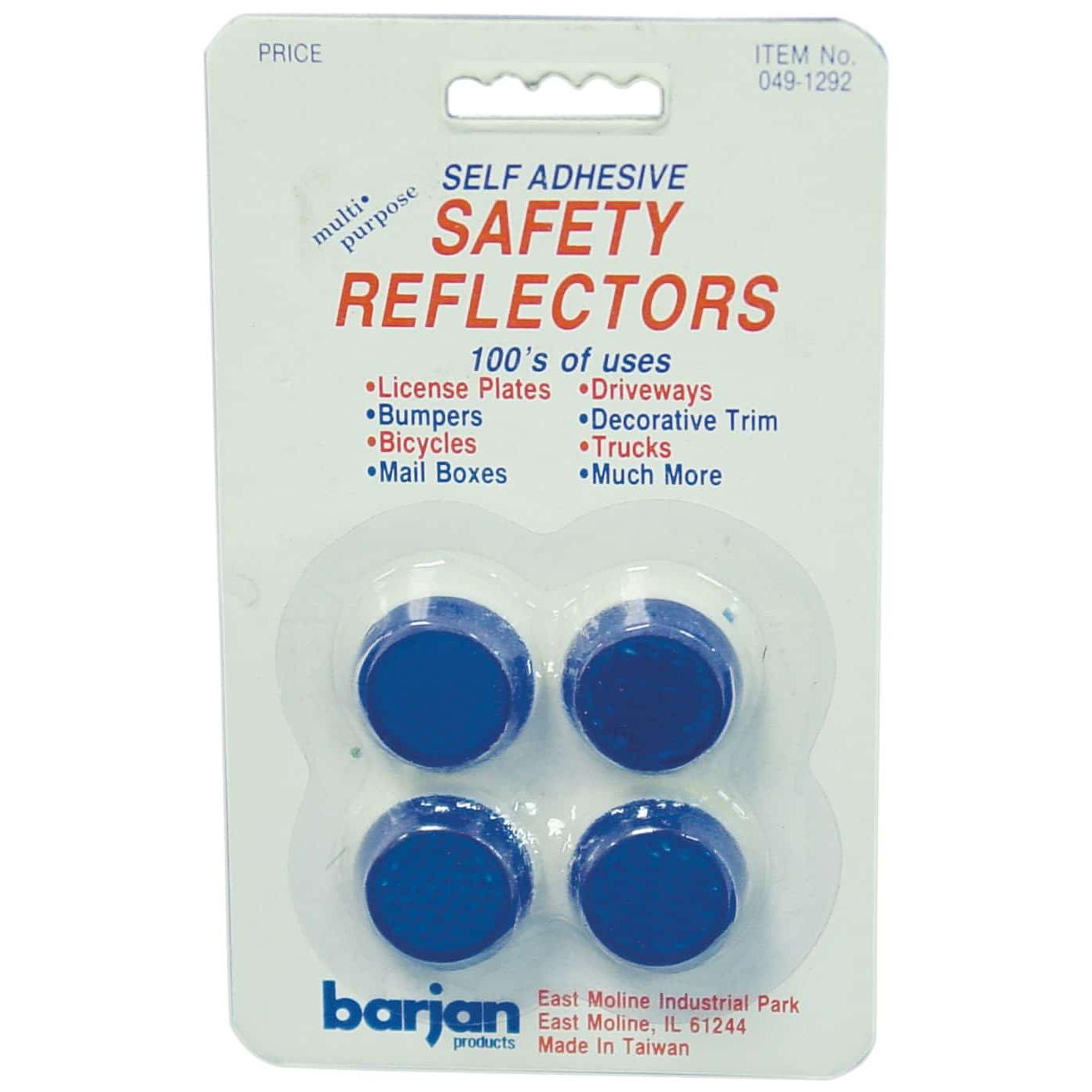 Barjan 491292 Multi-Purpose Mini Blue Round Self Adhesive Safety Reflectors - 4 Per Card