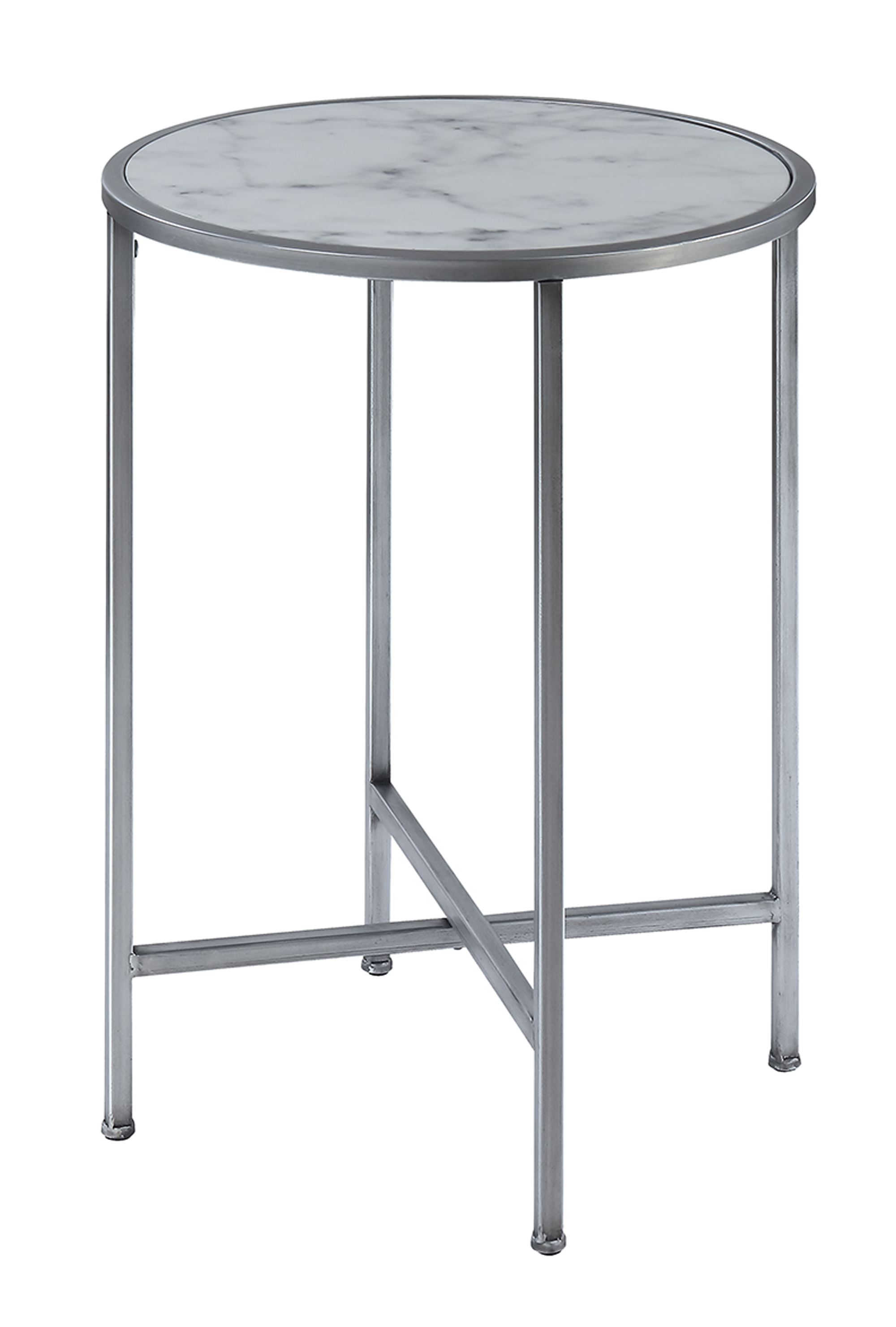 Convenience Concepts 413455S Gold Coast Faux Marble Round End Table Faux Marble & Silver - 24.5 x 18 x 18 in.