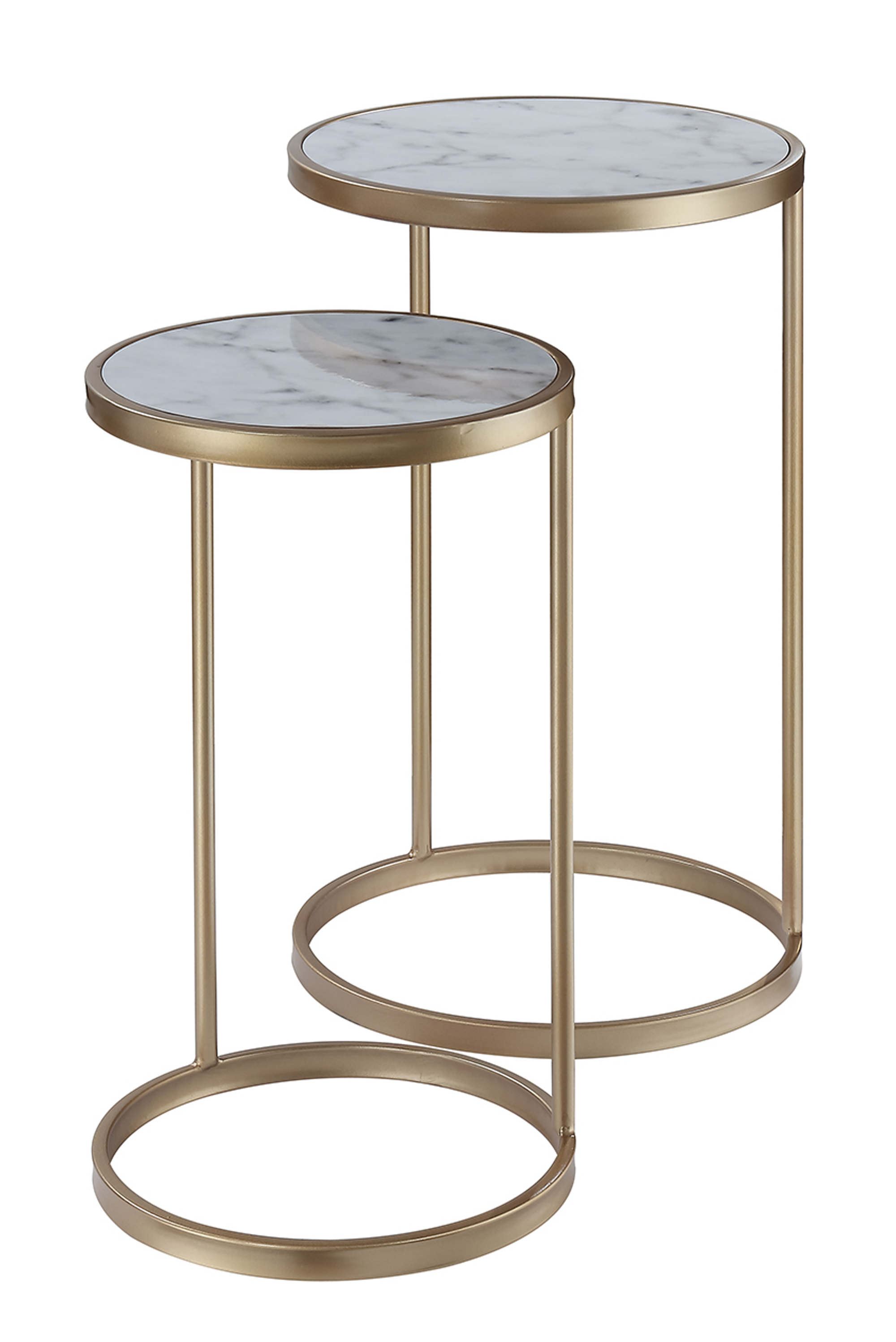 Convenience Concepts 413555M Gold Coast Faux Marble Nesting End Tables Faux Marble & Gold - 25 x 15.5 x 15.5 in.