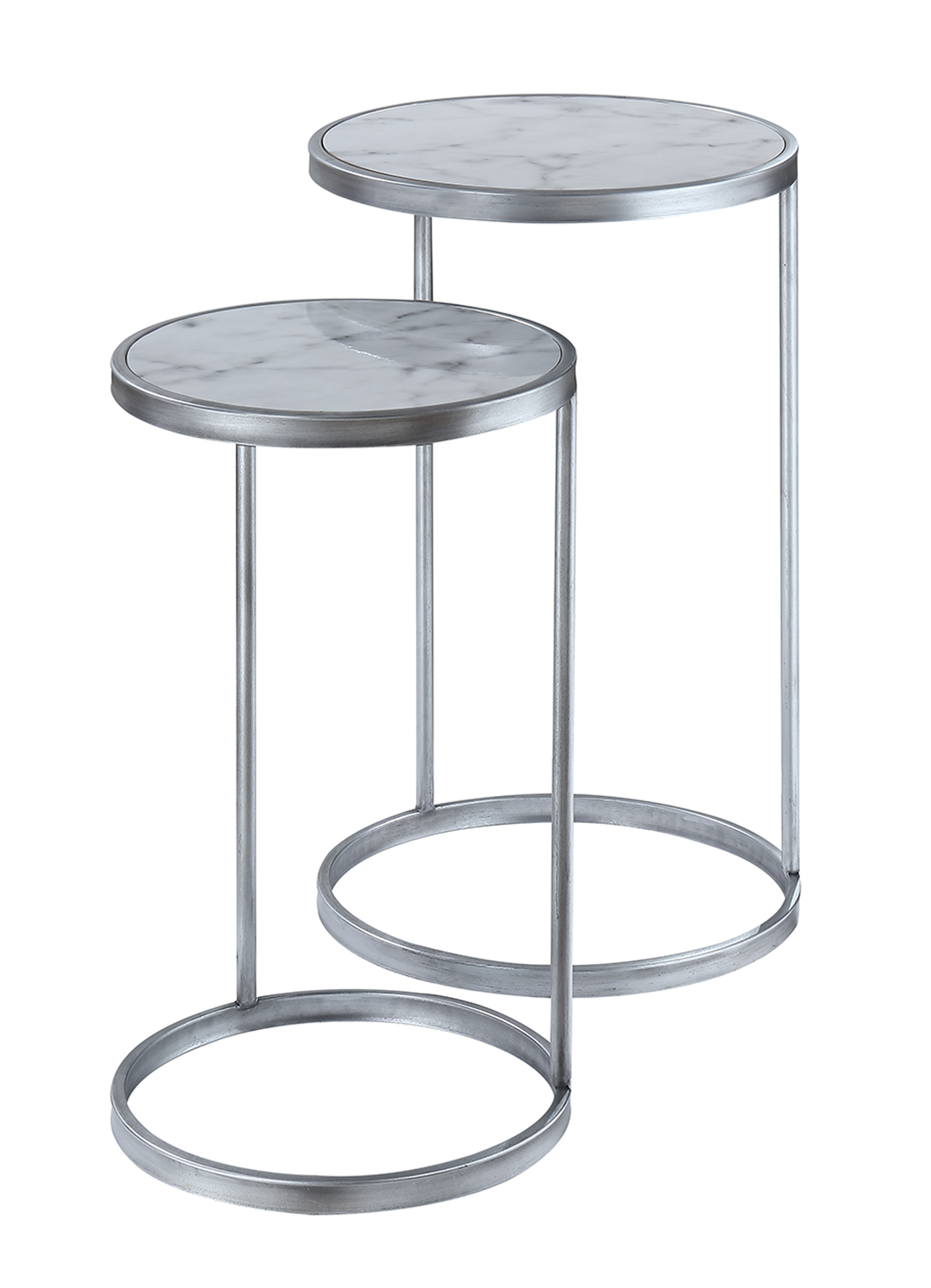 Convenience Concepts 413555S Gold Coast Faux Marble Nesting End Tables Faux Marble & Silver - 25 x 15.5 x 15.5 in.