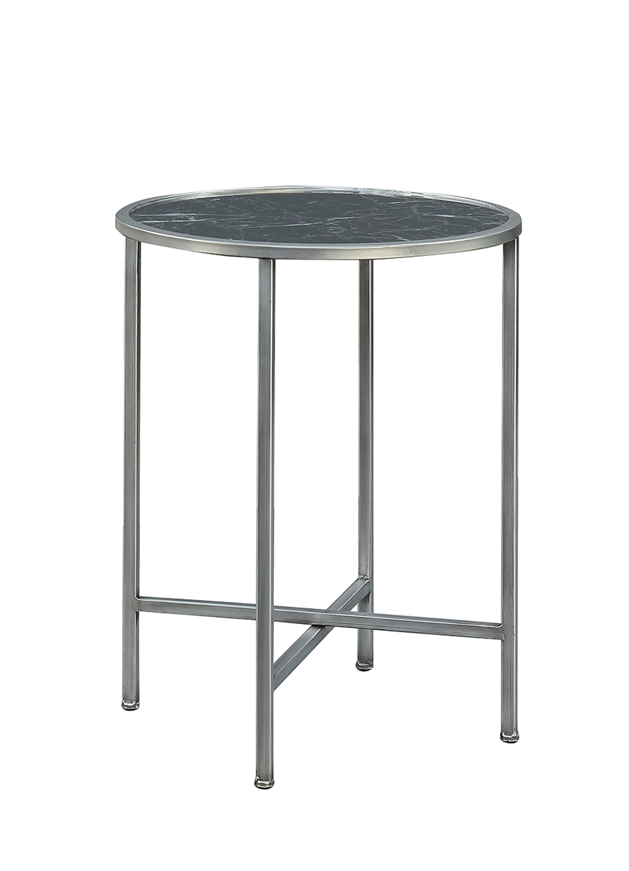 Convenience Concepts 413455MBLS Gold Coast Faux Marble Round End Table in Black Faux Marble Silver