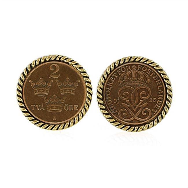 American Coin Treasures 11364 Swedish Coin ORE Crown Cufflinks