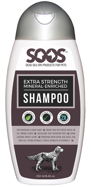Soos PP100 Extra Strength Mineral Rich Dead Sea Pet Shampoo - 250 ml.