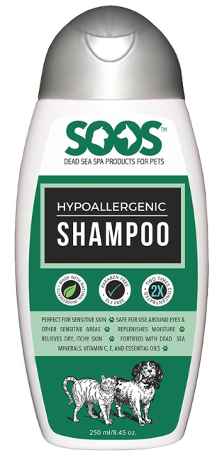 Soos PP102 Hypoallergenic Dead Sea Pet Shampoo for Cats & Dogs - 250 ml.