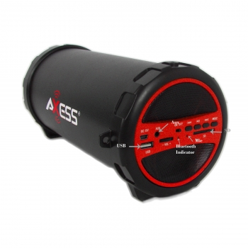 SPBT1031-RD Portable Bluetooth Indoor-Outdoor Hi-Fi Cylinder Loud Speaker with SD Card & USB Input, Red