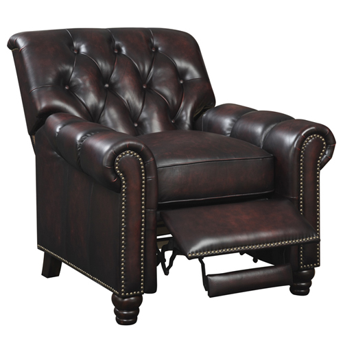 At Home Designs BILTMORE RECLINER 22 x 21.5 x 21 in. Top Grain Leather Nail Head Recliner Sofa Seat Brown