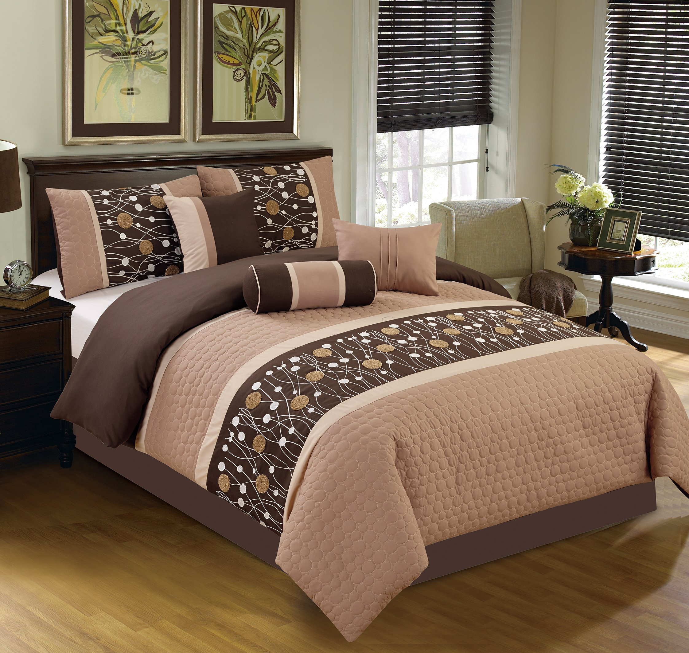 Elight Home 20839King Chinensis Embrodiery King Size Comforter Set - 7 Piece