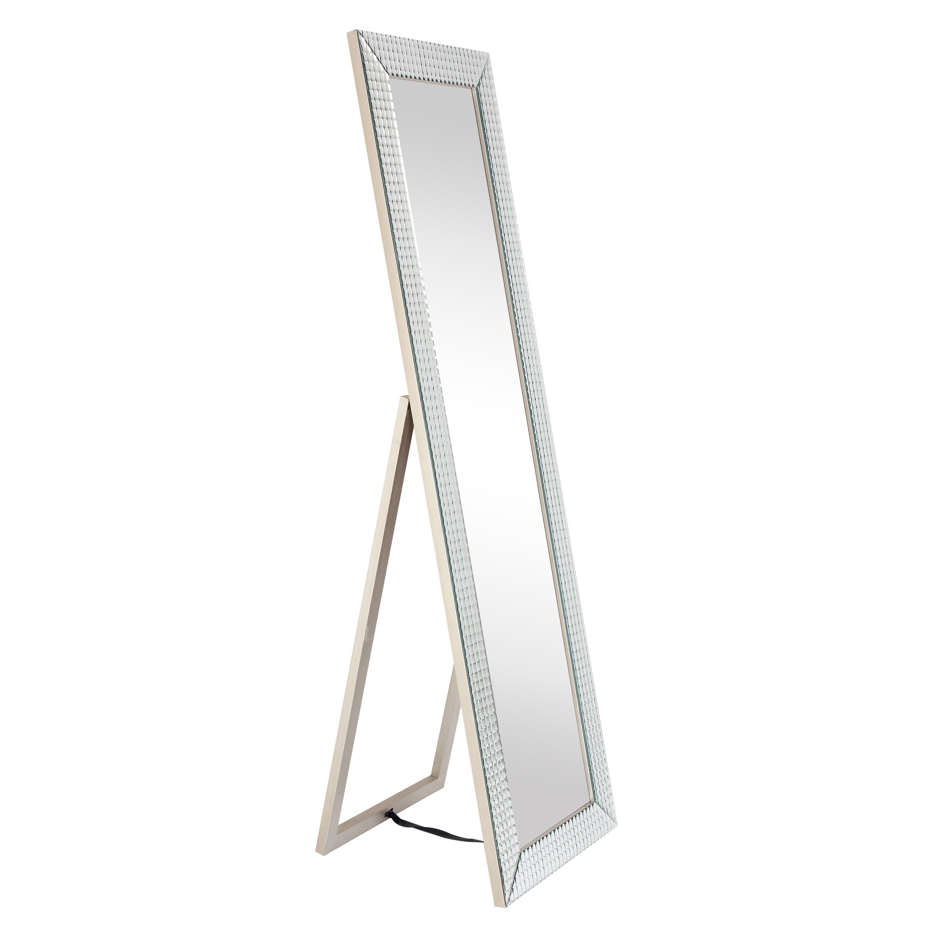 Empire Art Direct MOM-C69100-6418 Bling Beveled Glass Cheval Mirrorsolid Wood Frame Covered with Beveled Prism Mirror Panels - 1 in. Beveled Center Mirror