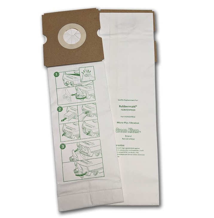 Green Klean GK-VPB10 Rubbermaid DVAC 1 Pass Replacement Vacuum Bags - 10 per Case - Case of 10 GRNK1099