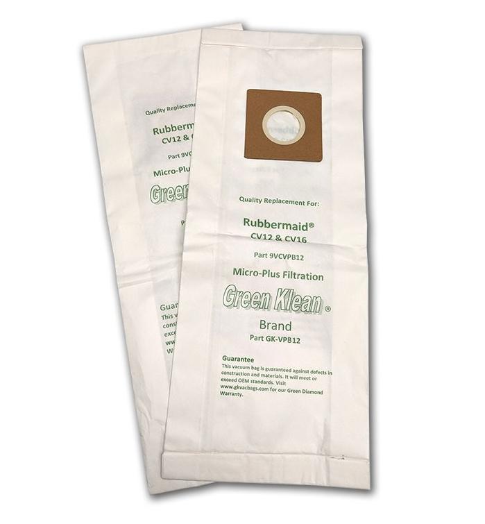 Green Klean GK-VPB12 Rubbermaid CV12 & CV16 Upright Replacement Vacuum Bags - 10 per Case - Case of 10 GRNK1101