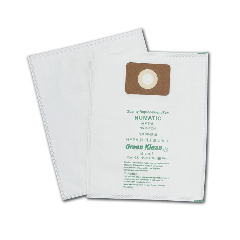 Green Klean GK-NVM1CH Hepa Nacecare Numatic Henry Hepa H11 Replacement Vacuum & Flo Filter Bags for 130 180 & 200 Models - 10 per Case - Case of 10