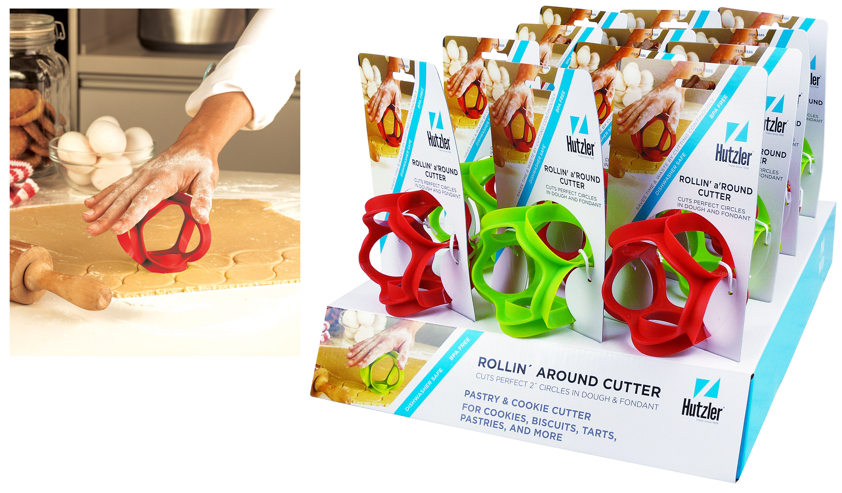 Hutzler 12-886 Rollin' a'Round Dough Cutter Counter Display (12 pack)