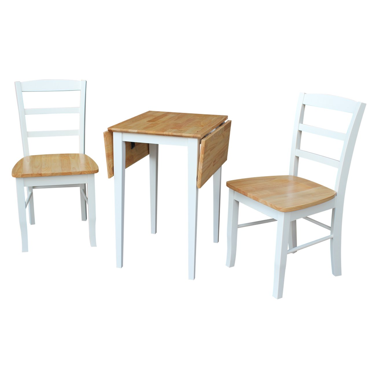InternationalConcepts K02-2236D-C2 Small Dual Drop Leaf Table with 2 Madrid Ladderback Chairs - 3 Pieces, White & Natural