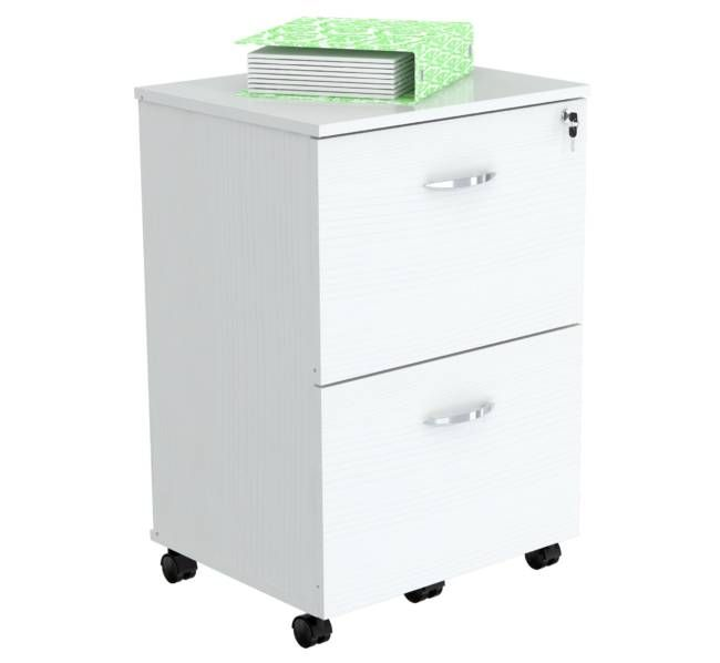 Inval America AR-2X2 RB File Cabinet Solid Composite Wood Laricina - White