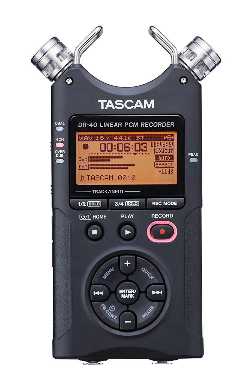TASCAM DR-40 4-Track Portable Digital Recorder, Black