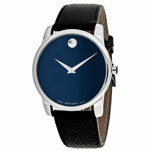Movado 607013 Leather Mens Watch - Blue Dial