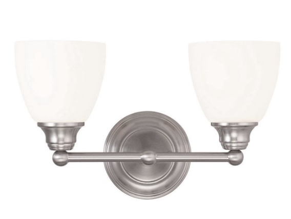 Livex 13662-91 2 Light Medium Base Brushed Nickel Vanity Wall Light