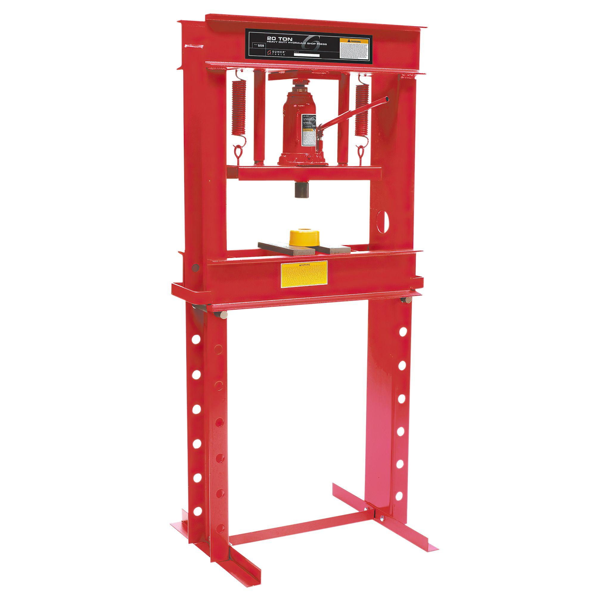 Sunex Tools SUU-5720WT 20-Ton Manual Hydraulic Shop Press Plus Heavy Duty Adjustable Work Table with Drawer